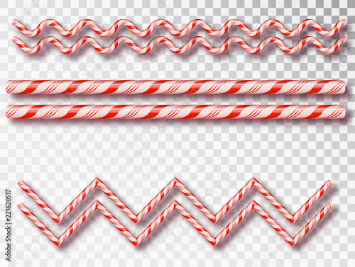 christmas candy border isolated blank christmas design realistic red and white twisted cord frame