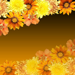Wall Mural - Beautiful floral background of yellow and orange flowers