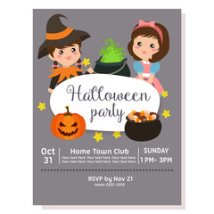 cute halloween party poster with sorceress costume