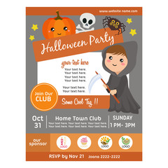 halloween party poster with grim reaper girl
