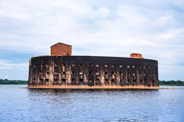 Abandoned marine fort Alexander in the vicinity of Kronstadt. Russia