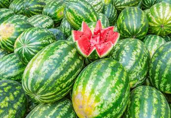 Fresh watermelon background in the fruit market.