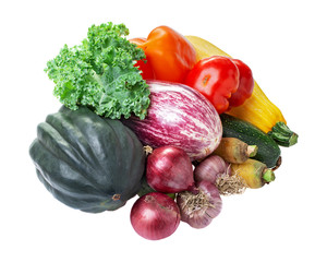 Various fresh vegetables kale, acorn squash, eggplant, zucchini, tomato, onion, pepper garlic isolated on white