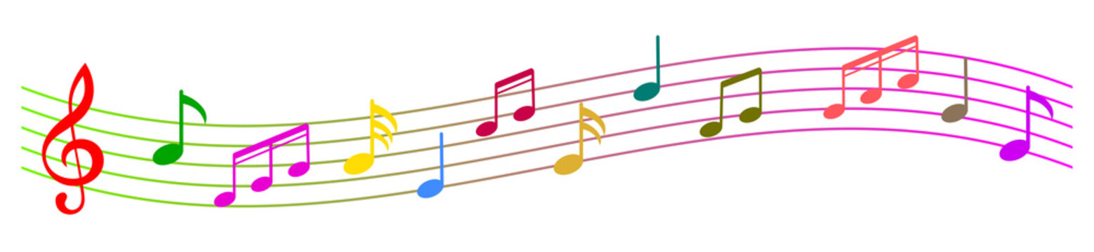 Colorful music notes background, musical notes – stock vector