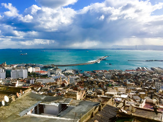 Photo on textile frame Algeria Top view of the old town and port. Algiers