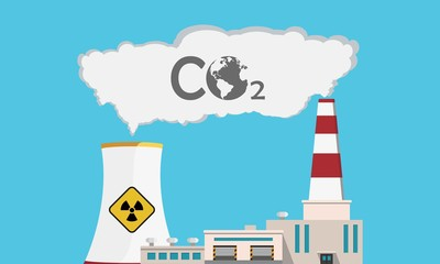 Nuclear power plant emitting CO2 for atomic energy. Blue sky at background. Ecology in danger. Vector illustration.