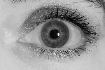 eye with toric contact lens, black and white