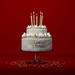 Gâteau d'anniversaire avec bougies sur fond rouge