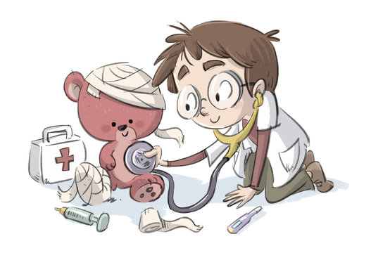 niño jugando a medico