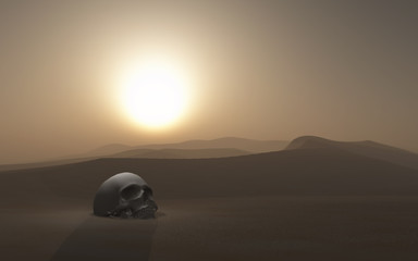 Fototapete - 3D skull buried in a desert against a sunset sky