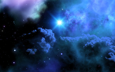 3D space sky with galaxy and shining star