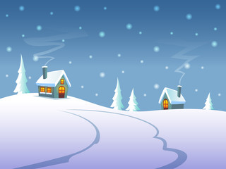 Winter landscape at night - cute houses on hills