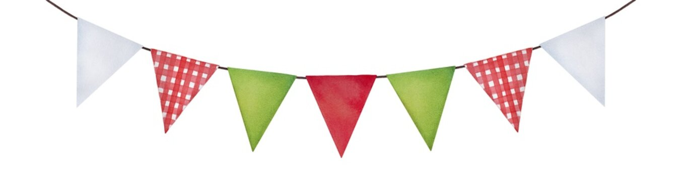 Cute festive bunting in green, red, white colors and checkered pattern. Cosy country side style, triangle shape. Hand drawn watercolour illustration, cut out clipart element for design and decoration.