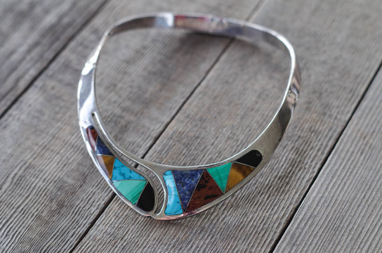 Sterling silver choker with inlaid gemstone slices