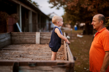 Small boy standing in a wooden trailer and looking at his grandfather. Spending some time together in a backyard alone.