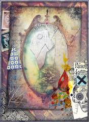 Poster Imagination Magic and bewitched mirror with graffiti and skull