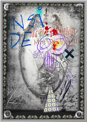 Poster Imagination Old fashioned background with graffiti, haunted mirror and skull