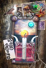 Poster Imagination Mystic and surreal background with candle