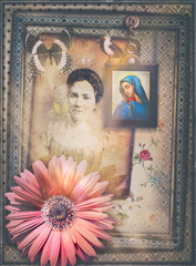 Poster Imagination Ancient and old fashioned background with haunted fairytale window and fantastic flower