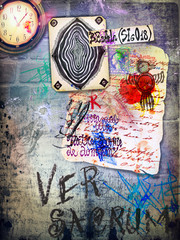 Poster Imagination Old wall with graffiti, manuscripts and clock