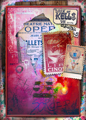 Poster Imagination Reverie. Mysterious wall with graffiti and collage