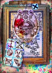 Rubedo cinnabaris. Composizione con simboli alchemici ed esoterici