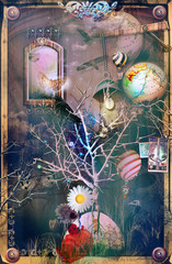 Poster Imagination The secret kingdom. Haunted tree in a surreal landscape