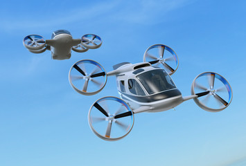 Two Passenger Drone Taxis flying in the sky. 3D rendering image.