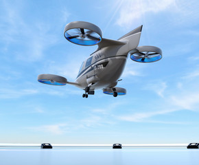 Metallic gray Passenger Drone Taxi takeoff from helipad. 3D rendering image.