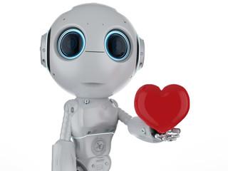 mini robot hold heart