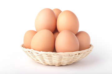 Eggs: Brown Egg Isolated on White Background