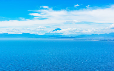 fuji mountain view in enoshima island, Japan