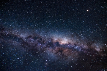 Long exposure shot of Milky way and the galaxy. Starry night. High ISO photography.