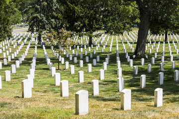 Arlington, Virginia. Gravestones and tombs at Arlington National Cemetery, a United States military cemetery