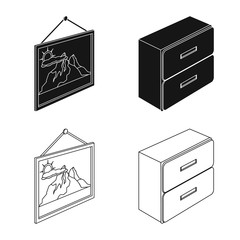 Vector design of bedroom and room icon. Set of bedroom and furniture stock symbol for web.