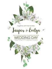 Wedding floral invitation, invite card. Vector watercolor style herbs, eucalyptus, white delicate lilly, waxflower natural, botanical green, decorative oval, geometric
