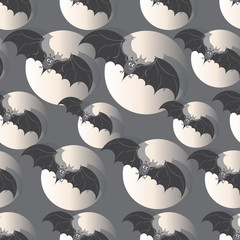 Flight of bats in the full moon. Happy Halloween. Seamless pattern. Design for textiles, ceramics, packaging materials.