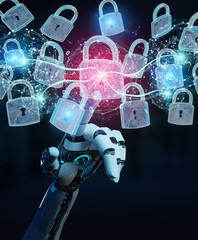 Web security protection interface used by robot 3D rendering