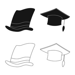 Vector illustration of headwear and cap icon. Collection of headwear and accessory stock symbol for web.