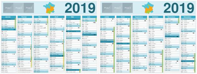 Calendrier 2019 avec vacances scolaires officielles au format 320 x 420 mm recto verso entièrement modifiable via calques et texte arial