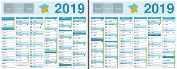 Calendrier 2019 avec vacances scolaires officielles au format 210 x 265 mm recto verso entièrement modifiable via calques et texte arial