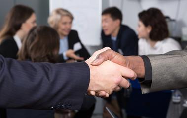 Closeup of businessmen handshake