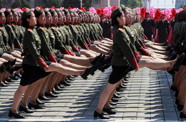 Soldiers march during a military parade marking the 70th anniversary of North Korea's foundation in Pyongyang
