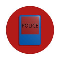 Police icon in badge style. One of road sings collection icon can be used for UI, UX