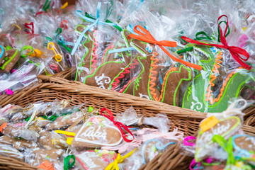 Souvenir gingerbread of different shapes on one of the traditional market in Cracow, Poland.