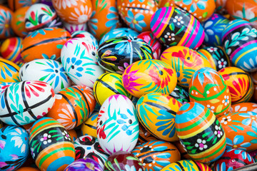 Traditional easter wooden eggs at local market.