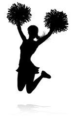 Detailed silhouette cheerleader holding pompoms