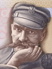 Jozef Pilsudski, a portrait from Polish money