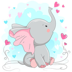 Cute baby elephant  with hearts.