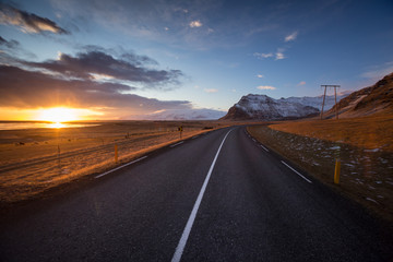 Icelandic landscape with main road, autumn.